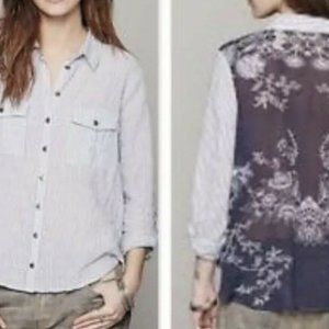 Free People Button Front Shirt  Sheer Floral sz xs